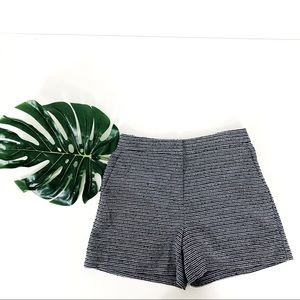Ann Taylor Textured Navy and White Striped Shorts